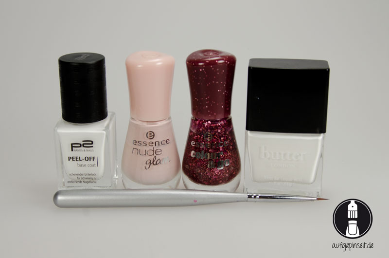 P2, Peel-Off Base | essence, nude glam, 04 iced latte | essence, 112 time for romance | Butter London, Cotton Buds