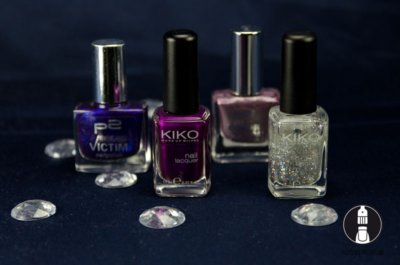 Meine Nagellacke von links nach rechts: P2 200 Rebel, Kiko 302 Pearly Orchid, P2 991 satellite dreams, Kiko 271